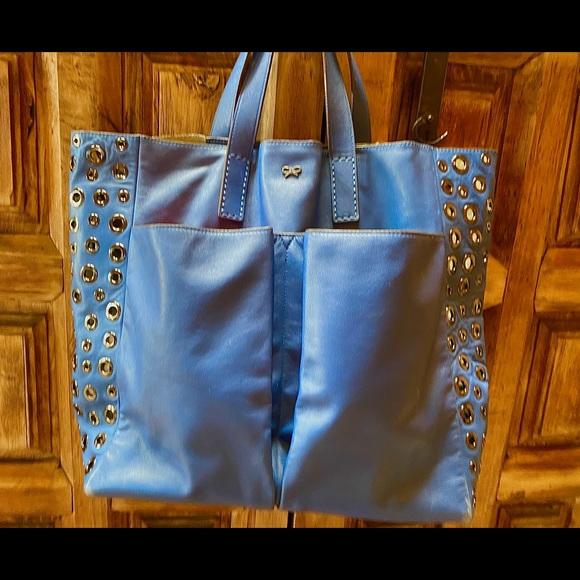 Anya Hindmarch Blue Leather Tote Sleeper bag Tags